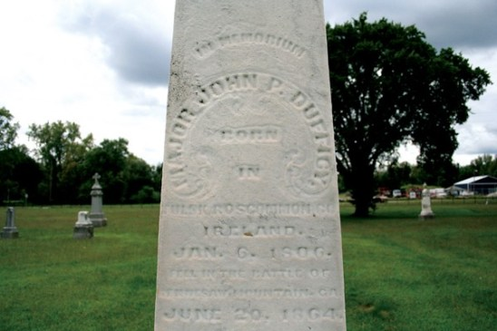 Major Dufficy was killed on June 20, 1864, during the battle at Kennesaw Mountain, Georgia. He was buried at the battlefield, but his body was later retrieved by Isaac Ball, a Terre Haute undertaker.