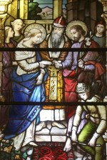 This window tells the story of the marriage of Mary and Joseph.