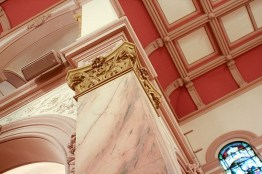 Even the ceiling has fancy raised molding.