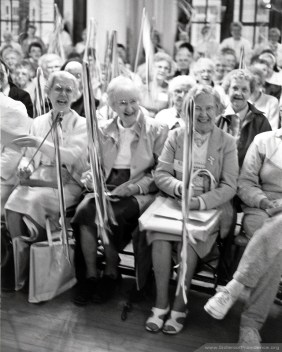 Sisters gather for the sesquicentennial celebration of the congregation in 1990. The Sisters of Providence of Saint Mary-of-the-Woods, Indiana, were founded by Saint Mother Theodore Guerin in 1840.
