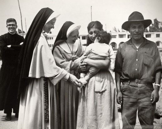 Sisters Agness Veronica Hester (left) and Kathleen Therese O'Connor enjoy ministering with the people of Arequipa, in Peru, South America. In response to a call from Pope John XXIII Sisters of Providence went to Peru in March 1963 and ministered there until 1976.