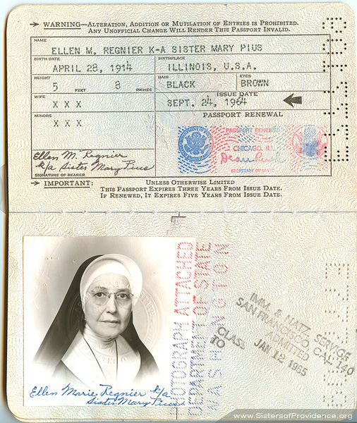 The passport for Helen/Ellen Marie Regnier, or Mother Mary Pius. From the archives of the Sisters of Providence of Saint Mary-of-the-Woods, Indiana.