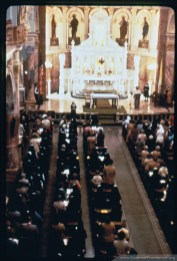 A liturgy at the Church of the Immaculate Conception, Saint Mary-of-the-Woods, Indiana.