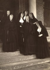 """Mother Marie Helene Franey was superior general from 1948-1953. She was the first superior general to receive an advanced degree and was viewed as the first """"modern"""" superior of the Congregation. Members of her council surround Mother Marie Helene: (left to right) Sisters Rose Genevieve Flaherty, Francis Joseph Elberg, Loretta Therese O'Leary, Catherine Celine Brocksmith, Rose Dolores Thuis, and Gertrude Clare Owens."""