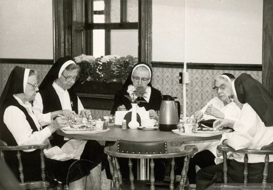Opening of New Dining Room in Providence Hall, Saint Mary-of-the-Woods. Left to right: Sisters Marie Angela Bannon, Francis Eileen Bannon, Agnes Carolyn Willwerth, Ann Healy.