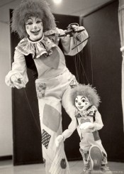 """[between 1976-1981] Sister Adelaide Ortegal as """"Patches"""" with her puppet friend, """"Little Patches."""""""