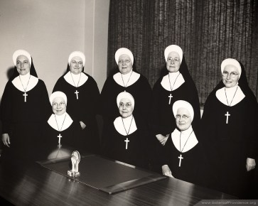 Members of the General Council (1966-1971) (seated left to right) Sister Loretta Therese O'Leary, Mother Mary Pius Regnier and Sister Catherine Celine Brocksmith. (Standing) Sisters Agnes Arvin, Margaret Kern, Mary Joan Kirchner, Rose Loretto Wagner and Ann Kathleen Brawley.