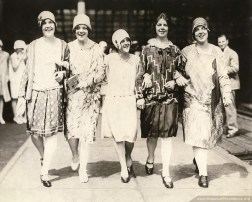 Five girls from St. Rose in Chelsea, Mass., walk through the train station in Boston before they travel to Saint Mary-of-the-Woods in 1929. (Left to right) Sisters Mary Regis O'Kane, Anne Bernadine Dunne, Cyril Tobin, Philip Conlin and Mary Patricia Carroll.