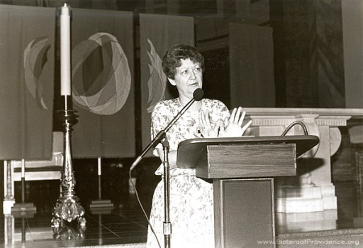 Sister Barbara Doherty, a member of the Sisters of Providence of Saint Mary-of-the-Woods, gives a talk at the National Retreat on Providence, July 16-18, 1993.
