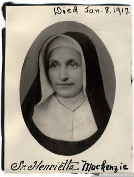 Sister Henrietta Mackenzie (born Mary Rebecca Mackenzie) entered the Sisters of Providence of Saint Mary-of-the-Woods, Indiana, in September 1860. She became a skilled nurse and infirmarian, assisting for a time with Sisters of Providence in Civil War health care service. She died at Saint Mary-of-the-Woods Jan. 8, 1917.