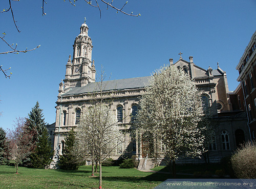 Since the church is made of Indiana limestone, it has stayed sturdy and beautiful for over a century. The Church of the Immaculate Conception is on the motherhouse grounds of the Sisters of Providence of Saint Mary-of-the-Woods, Indiana.