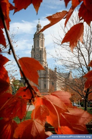 The Church of the Immaculate Conception is framed by fiery orange leaves in October 2009. The Church is the central place of worship for the Sisters of Providence of Saint Mary-of-the-Woods, Indiana.