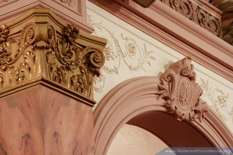 Nearly every surface of the Church is covered with intricate raised scrollwork. The Church of the Immaculate Conception is on the motherhouse grounds of the Sisters of Providence of Saint Mary-of-the-Woods, Indiana.