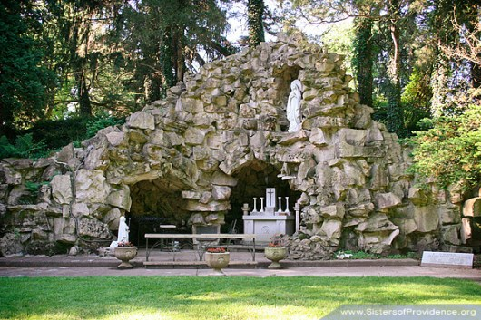 The Grotto of Our Lady of Lourdes on the motherhouse grounds of the Sisters of Providence in Saint Mary-of-the-Woods, Indiana.