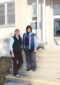 Novice Sister Arrianne Whittaker with Director of Novices Sister Janice Smith outside Owens Hall at Saint Mary-of-the-Woods.