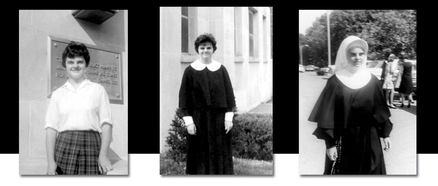 Sister Denise Wilkinson in various stages of formation with the Sisters of Providence. From left, entering the congregation, as a postulant and as a novice