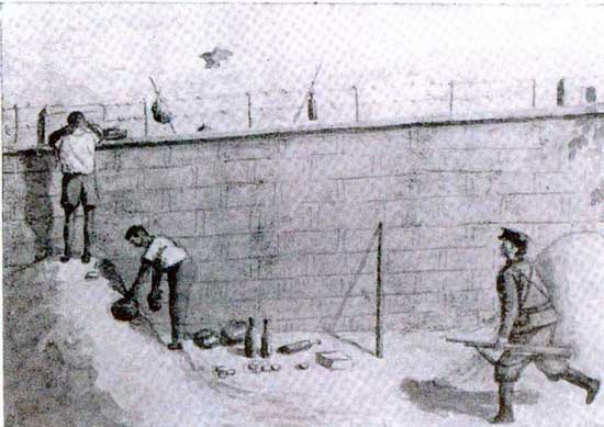 This is a sketch of the Black Market tradings by Father Louis Henri Aloys Schmid. He belonged to the Lazarist Catholic Mission and was in Weihsien for a short time before being sent back to Peking. His sketches are probably Indian ink wash drawings on cardboard. (Credit: weihsien-paintings.org)