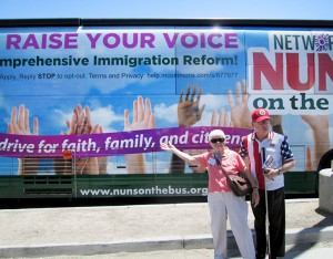 Sister Carol Nolan greets the Nuns on the Bus as the Catholic social justice lobbying group makes a stop at her ministry at Providence in the Desert in southern California to advocate for just immigration reform.