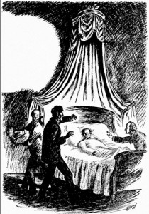 Opening illustration for the story The Facts in the Case of M Valdemar by Edgar Allan Poe from the first issue (April 1926) of the pulp magazine Amazing Stories. (Public domain)