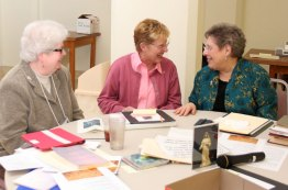 These gals were a hoot! Retreat coordinators Sisters Jan Craven, left, and Paula Damiano, right, both of Providence Spirituality and Conference Center, with Director of Associates Sister Diane Mason.