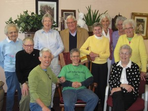 Sisters of Providence and Providence Associates gathered in June for a Louisville Area Circle. The Circle was hosted by the SPs at Providence Self-Sufficiency Ministries in Georgetown, Ind. Pictured (front row from left) Sheila Galvin, Joan Frisz, and Sister Eileen Bonner; (middle row) Sister Joanne Cullins, Sister Rose Virginia Eichman, Sister Brigid Bonner; (back row) Sister Nancy Reynolds, Tom O'Toole, Margo O'Toole, Sister Maria Smith and Sister Barbara Ann Zeller. Present but not pictured - Maria Price.