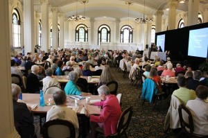 General superior Sister Denise Wilkinson greets Sisters of Providence, Providence Associates and ministry partners gathered for an annual meeting in June 2014