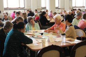 From left, Sisters Dorothy Gartland and Jean Fuqua listen to the table discussion.