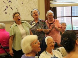 """Singing """"Deep in the heart of Texas"""" are Sisters Jeremy Gallet, Barbara Bluntzer and Maureen Abbott."""
