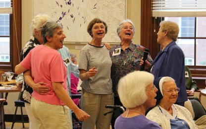 """Singing """"OKLAHOMA"""" during the Sunday social are, standing from left, Sisters Terri Grasso, Ellen Kehoe, Barbara Bluntzer and Nancy Nolan."""