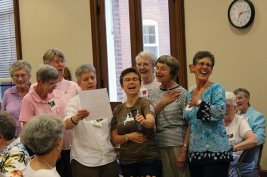 The group from Kentucky sang their state proud at Sundays social. From left Sisters Marceline Mattingly, Brigid Ann Bonner, Mary Montgomery, Providence Associate Joan Frisz, Sisters Hannah Corbin, Eileen Rose Bonner, Ellen Kehoe and Associate Maria Price.
