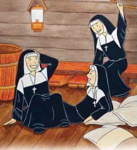 An illustration of three of the founding sisters on the ship laughing after Sister Mary Liguori fell on Mother Theodore.
