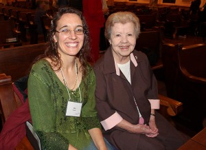 """Sister of Providence Nancy Nolan of """"Here's the thing, Hon"""" fame with her Providence Associate Companion Amy Miranda at the first commitment ceremony Nov. 8."""