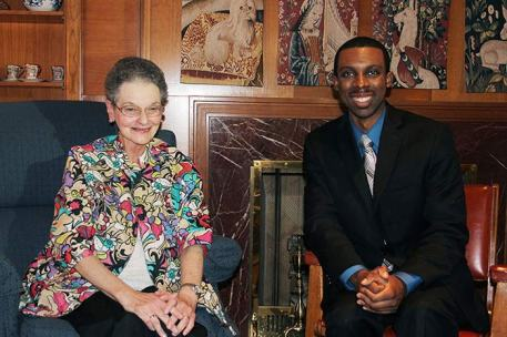 Sister Mary Ryan with WTHI's Rondrell Moore during an interview.