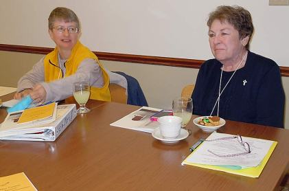 """Sister Patty Wallace (left) and Sister Ann Sullivan at the """"Justice Jamboree."""""""