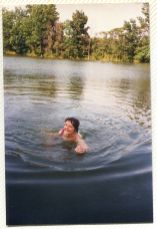 Sister Cecilia Ann Miller swimming at St. Joseph Lake in the 1980s.
