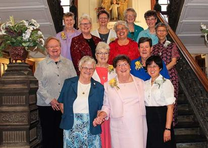 Eight Sisters of Providence attended a 25- and 50-year Jubilee celebration at Saint Mary-of-the-Woods, Indiana, on Saturday, June 27. Photographed with the General Council are (front, from left) General Superior Sister Denise Wilkinson, Sister Mary Ann Stewart (50 years), Sister Anna Ho (25 years), (second row) Sister Mary Beth Klingel, Sister Kathleen Leonard (50 years), Sister Betty Paul (50 years), (third row) Sister Lisa Stallings, Sister Martha Rojo (50 years), Sister Sophia Chen (25 years), (back row) Sister Claire Hanson (50 years), Sister Dawn Tomaszewski, Sister Jeneen Howard and Sister Mary Tomlinson (25 years).
