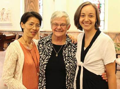 Sister Anna Fan, General Superior Sister Denise Wilkinson and Sister Tracey Horan.