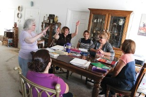 Sister Loretta and her class of more advanced English speakers have lots of fun in this class that meets in Salton City.