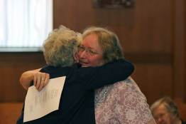 Sister Rosemary Nudd hugging Sister Martha Wessel