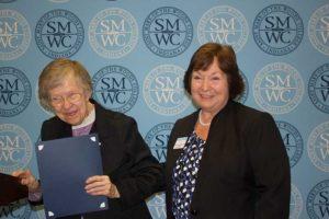 Sister Francis Edwards (left) with Saint Mary-of-the-Woods College Director of Nursing, Dr. Marcia Miller. Photo provided by Sue Weatherwax.