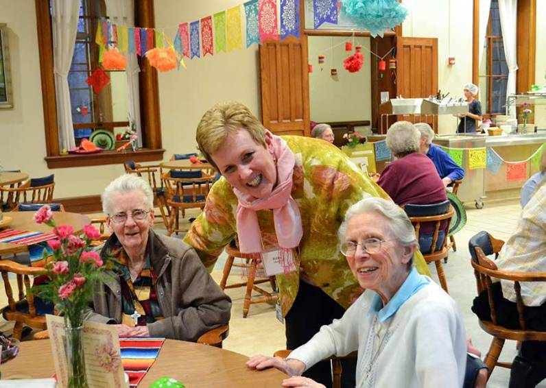 Visiting during the Providence Associate spring retreat social are, from left, Sister Betty Donoghue, Providence Associate Debbie Dillow and Sister Bernadette Mary Carroll.