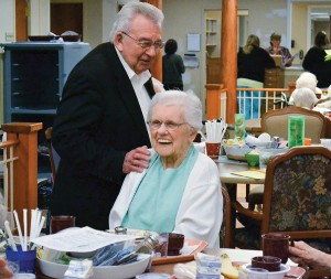 Father Dan jokes with Sister Anne Krause.