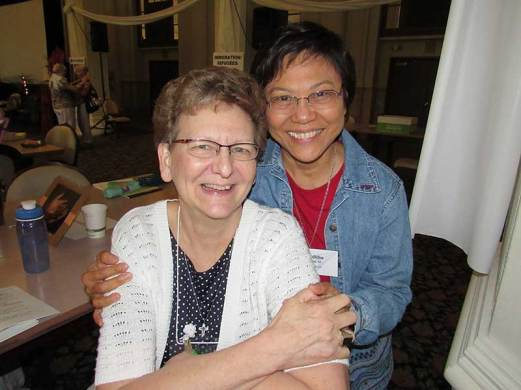 Newly elected General Superior Sister Dawn Tomaszewski with Sister Editha Ben. (Photo by Sister Joni Luna)