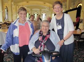 Sisters Jeremy Gallet and Peggy Lynch with newly elected General Superior Sister Dawn Tomaszewski. (photo by Joni Luna)