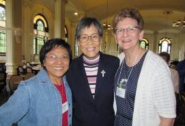 Sister Editha Ben (left), Sister Delan Ma (center) and Sister Dawn Tomaszewski. (Photo by Sister Joni Luna)