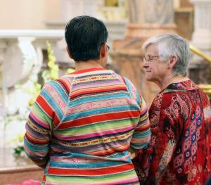 Blog post author and General Superior Sister Denise Wilkinson, right, shares a moment of joy with Sister Joni Luna on the day of Sister Joni's first vows as a Sister of Providence.