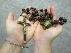 A close-up of the historical Sisters of Providence chaplet that Sister Tracey received.