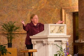 Sister Mary Beth Klingel, cantor, leads the assembly in the Psalm response