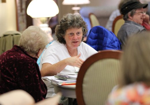 Candidate Mary Bales during table discussion.