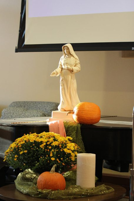 Saint Mother Theodore Guerin set a prayerful tone for the gathering.